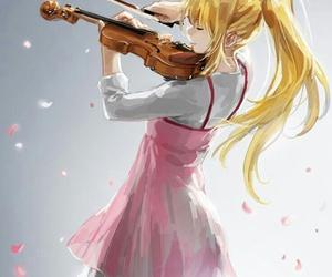 anime, violin, and shigatsu wa kimi no uso image
