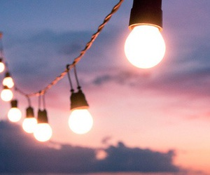 light, string, and sunset image