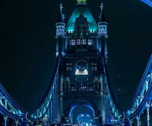london, night, and bridge image