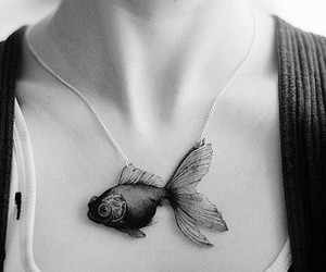 black and white, fish, and girl image