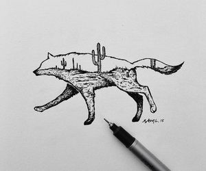 art, cactus, and wolf image