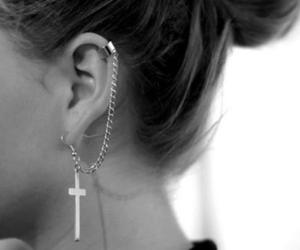 cross, silver, and earrings image