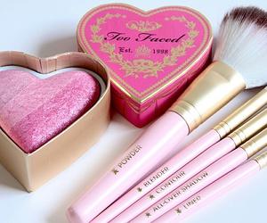 pink, makeup, and blush image