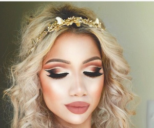 curly hair, eyebrows, and summer makeup image