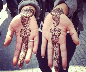 tattoo, henna, and hands image