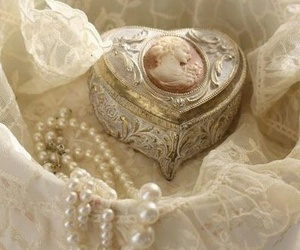 lace, pearls, and vintage image