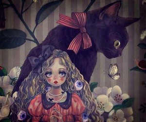 cat, psychedelic, and girl image