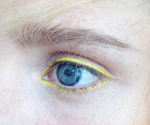 yellow, makeup, and blue eyes image