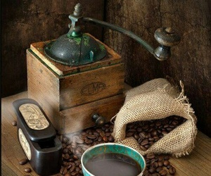 cafe, grinder, and coffee beans image