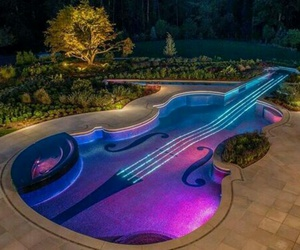 pool, violin, and music image