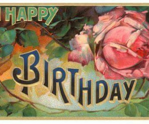 birthday, card, and flowers image