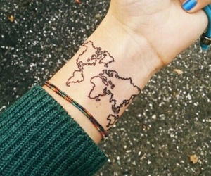 tattoo, world, and map image