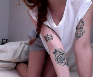 girl, tattoo, and hipster image