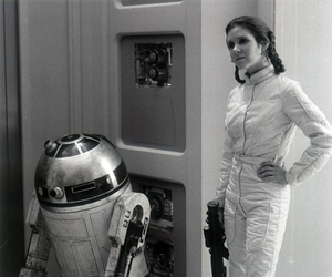 r2d2, star wars, and carrie fisher image