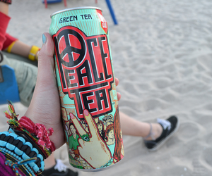 peace tea, beach, and drink image