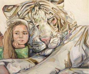 drawing, girl, and tiger image
