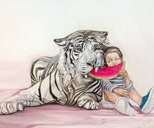 tiger, watermelon, and art image