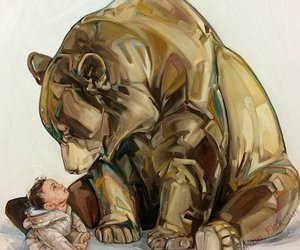 art, bear, and child image