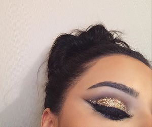makeup, gold, and eyebrows image