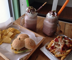 burger, drinks, and Philippines image