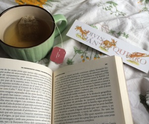 book, tea, and bed image