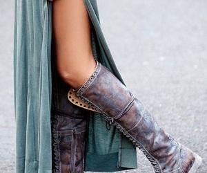 boho, boots, and dress image
