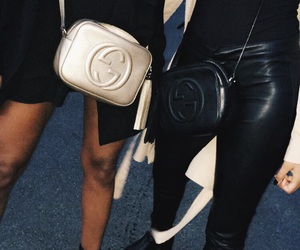 black, gucci, and leather image