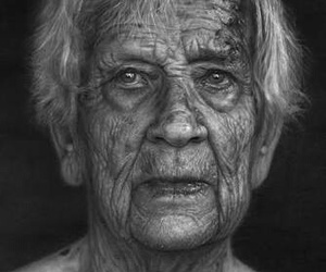 black and white, drawing, and old man image