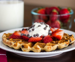 strawberry, chocolate, and waffles image