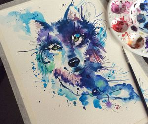 art, painting, and wolf image