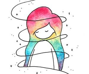 art, rainbow, and drawing image