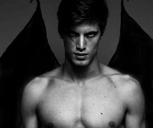 black, demon, and wings image