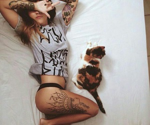 girl, cat, and tattoo image