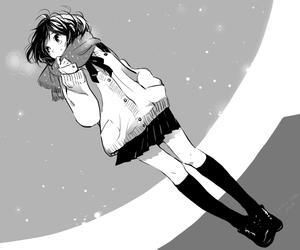 anime, girl, and monochrome image
