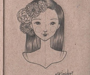 flowers, girl, and sketch image