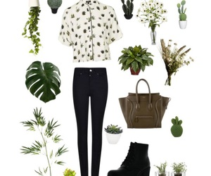 black, outfit, and plants image