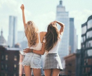 best friends, girl, and city image