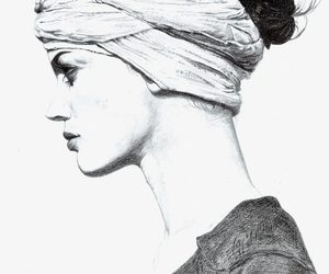 drawing, pencil sketch, and portrait image
