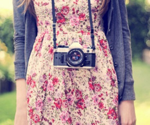 camera, girl, and dress image