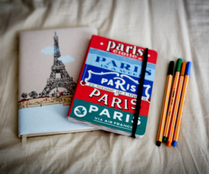 paris, pen, and notebook image
