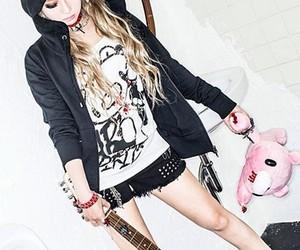 black, guitar, and hair image