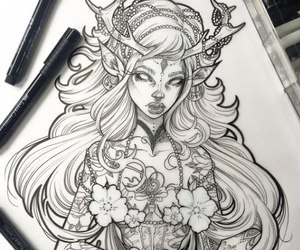 draw, elf, and sketch image