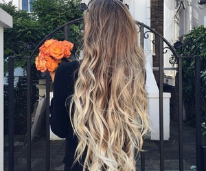 hair, blonde, and flowers image