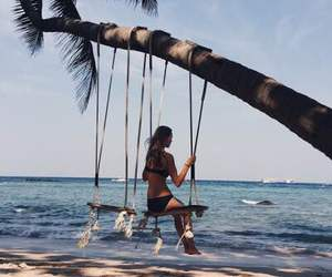 beach, swing, and blue image