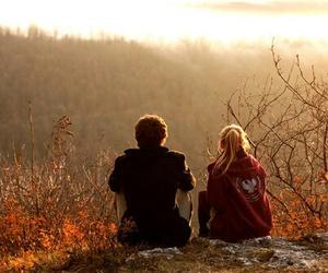 autumn, couple, and boy image