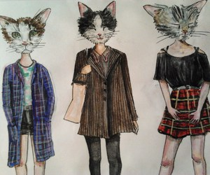 cat, drawind, and girls image