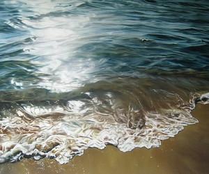 beach, hyperrealism, and ocean image
