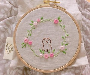 cat, embroidery, and yarn image