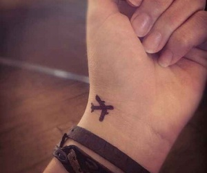 airplane, tattoo, and travel image
