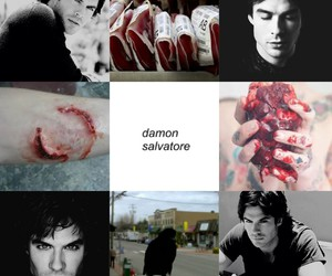 blood, damon, and heart image